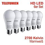 Telefunken – HD LED Lampe I E27 | Leuchtmittel 6er Set I warm weißes Licht I A+ I 10W I 806 Lumen I 2700 Kelvin I Ra>90 I 60x120mm (DxH)