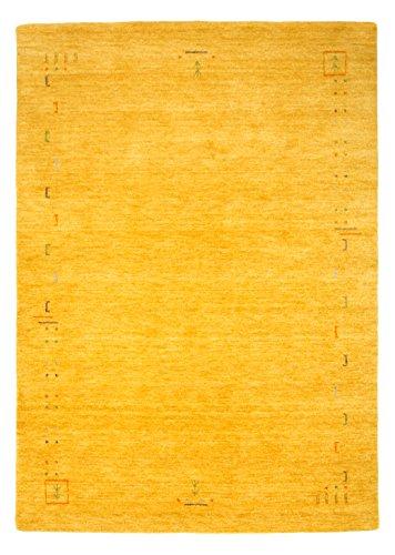 Morgenland Designer Gabbeh Teppich FENTH 200 x 140 cm Gold Gelb Einfarbig Modern Handgearbeitet 100%...