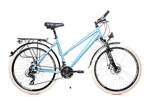 "26"" Zoll Alu Trekking City Fahrrad Damen Rad Bike Shimano 21 Gang Disc blau"
