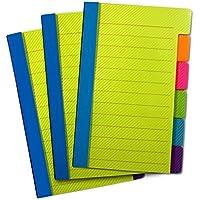 PeakaZoo Notas adhesivas marcapáginas - 3 packs - Marcadores de colores para notas en libros, libretas y organización - En 6 colores neón con renglones para notas