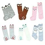 VWU Unisex Baby Mädchen Jungen Kniestrümpfe Socken 6er Pack 0-1/1-3/3-5 Jahre (0-1 Jahre, Tier 6)