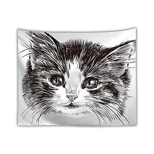 mmzki Niedliches Tier süße Katze Digitaldruck Kinderteppich/Strandtuch R 150X100cm