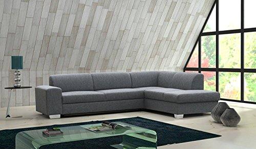 Preisvergleich Produktbild Wohnlandschaft Elmo mit Ottomane rechts in grau mit Bettfunktion und Staukasten – Abmessungen: 280 x 220 cm (L x B)
