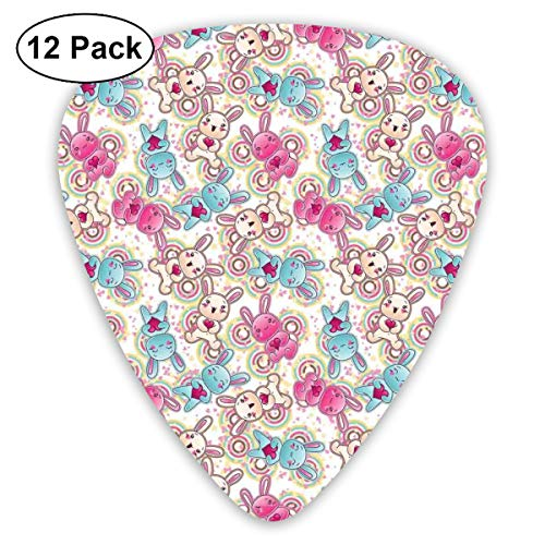 ks - 12 Pack,Abstract Art Colorful Designs,Childish Pattern With Colorful And Happy Kawaii Characters Holding Pink Hearts Stars,For Bass Electric & Acoustic Guitars. ()