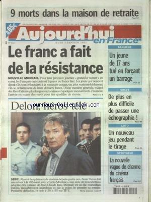 AUJOURD'HUI EN FRANCE [No 172] du 03/01/2002