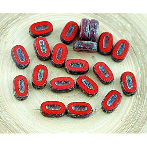 12pcs Picasso Opaco de Coral Rojo Marrón Pequeño Plana y Ovalada Pétalo de la Ventana de Tabla de Cortar de Cristal checo Perlas de 10mm x