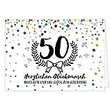 Große Glückwunschkarte zum 50. Geburtstag XXL (A4) Konfetti bunt/mit Umschlag/Edle Design Klappkarte/Glückwunsch/Happy Birthday Geburtstagskarte/Extra Groß/Edle Maxi Gruß-Karte