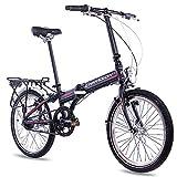 CHRISSON 20 Zoll Faltrad Klapprad - Foldrider 3.0 schwarz - Faltfahrrad für Herren und Damen - 20 Zoll klappbares Fahrrad mit 7 Gang Shimano Nexus Nabenschaltung - Folding City Bike