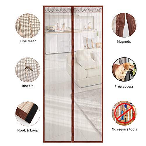 TSYMO porta zanzariera rete magnetica - zanzariere maglia tenda per balcone scorrevole soggiorno camera per bambini, adatta porte aperture fino a 90 x 210 cm, 4 colori disponibili
