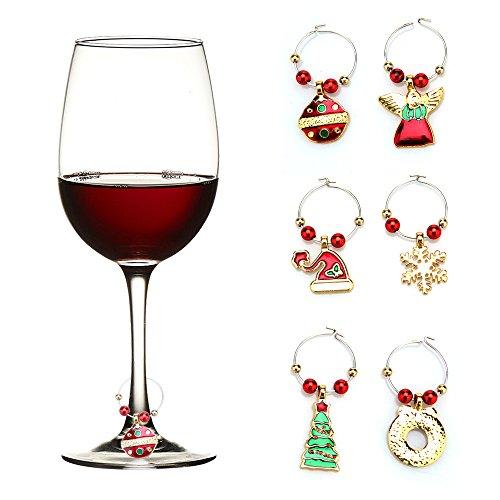 TiooDre Weinglas-Dekoration, Charms, Party, Neujahr, Tassenring, Tischdekoration, Weihnachtsanhänger, Metallring