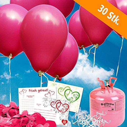 (galleryy.net 30 Luftballons Hochzeit Pink Komplettset: 30 Luftballons + Helium Einwegflasche + 30 Ballonflugkarten für Luftballons zur Hochzeit)