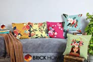 BRICK HOME Highlighter Multicolor Printed Canvas Cotton Cushion Cover, 18X18 Inches, Set of 5