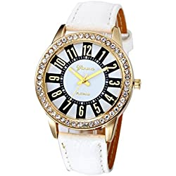 WINWINTOM Women Stainless Steel Analog Leather Quartz Wrist Watch White