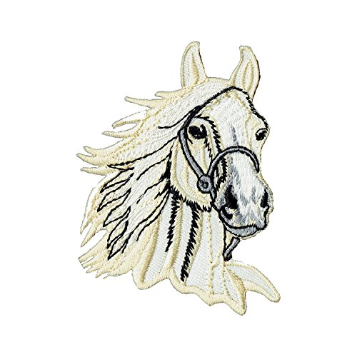 (Aufnäher Bügelbild Aufbügler Iron on Patches Applikation Pferd Kopf reiten Pferdekopf)