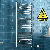 iBathUK | 1000 x 450 Electric Chrome Heated Towel Rail Bathroom Radiator - All Sizes