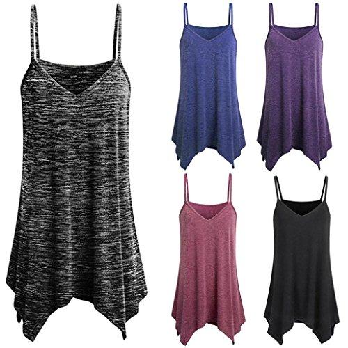 Plus Size Camisole Vest, Kanpola Womens Summer Irregular Loose V Neck Tank Top Shirt Ladies Cami Blouse Tops