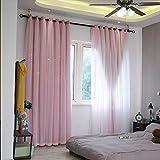 WENROUMIAO Blackout Vorhänge, Romantisch Sternenhimmel Galaxy Fenster Vorhang Mädchen Schlafzimmer Schalldicht Wind-Schild Vorhang-Pink 250x270cm(98x106inch)