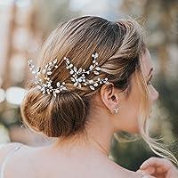Kercisbeauty - Juego de 2 horquillas para el pelo hechas a mano para novia, dama de honor, niña, estilo vintage, para boda y fiesta, pelo rizado largo, accesorios para el pelo, boda, estilo vintage con diamantes de imitación y abalorios, horquillas para novia, flor de oro