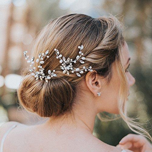 Kercisbeauty - Juego de 2 horquillas de cristal y perlas para el pelo  hechas a mano 1c353883d5a3