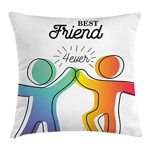 Best Friend Throw Pillow Cushion Cover, Ombre Colors Best Friend Forever High Five, Decorative Square Accent Pillow Case, Apricot Dark Coral Seafoam and Dark Ceil Blue,20 X 20 Inches -