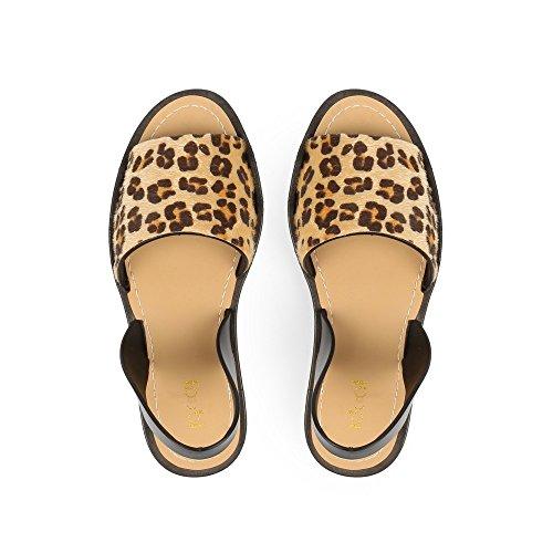 Ideal Shoes Sandales Plates à Bride Ocea Léopard