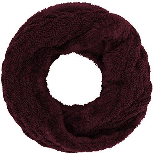 Compagno Winter Loop-Schal Damen-Schal gefüttert Winter-Schal Strick-Schal, SCHAL Farbe:Weinrot