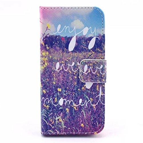 iPhone 5S Coque, iPhone 5 Coque, Lifeturt [ Colorful Mandala Flower ] Coque Dragonne Portefeuille PU Cuir Etui en Cuir Folio Housse, Leather Case Wallet Flip Protective Cover Protector, Etui de Protec E02-Apprécie chaque moment1863
