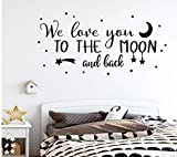 Cartoon we love you to the moon y back Cartoon etiqueta de la pared Mural Art Poster For Kids Room Decoration Decal Stickers