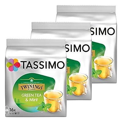Tassimo Twinings Thé Vert à la Menthe, Lot de 3, 3 x 16 T-Discs