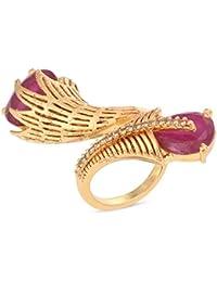 Tistabene Retails Floral Antique Red Stone Antique Designer Gold Plated Designer Stylish Fancy Party Wear Adjustable...
