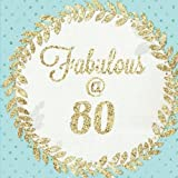 Fabulous at 80: 80, Eighty, Eightieth Large Square, Birthday Anniversary Party Guest Book, Message Book, Keepsake, Formatted Lined & Unlined Pages And ... Paperback: Volume 6 (Gold Guest Book)