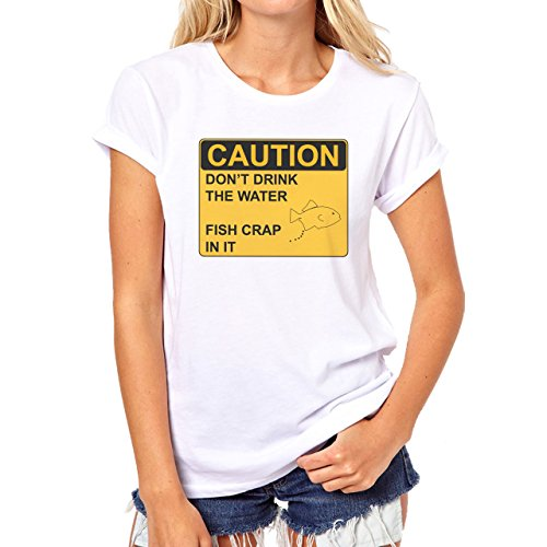 Danger Sign Warning Caution Fish Crapo Damen T-Shirt Weiß