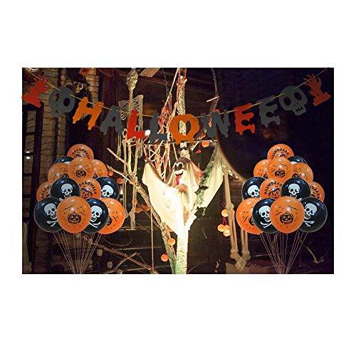 Caiery 50 pcs Halloween Dekoration Ballons Luftballons & 1pcs Halloween Girlande/Halloween Deko Set für geeignet-Grusel-Horror-Party-Deko - 5
