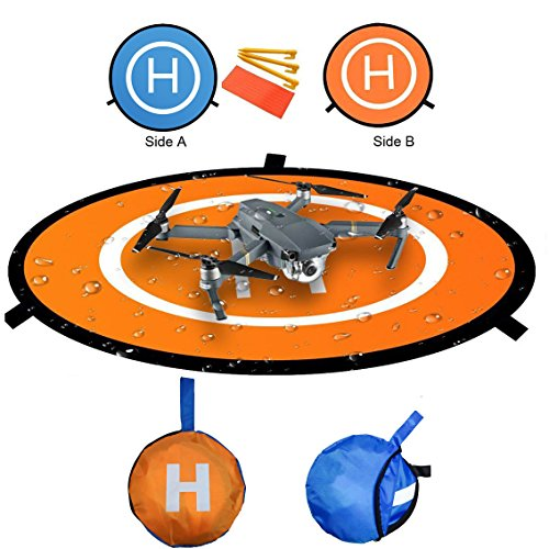 Kingwon RC Drone Quadcopter Landing Pad 30 inch(75cm) Helicopter Collapsible Helipad Dronepad Launch Mat with a Carrying Bag for DJI Spark Mavic Pro Phantom 2 3 4 Inspire 1 Accessories