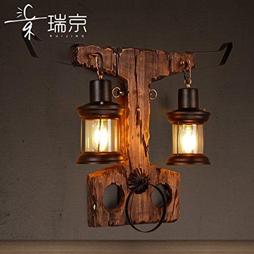 BESPD lámpara de pared Aire Industrial Retro Loft creativo apliques de cristal botes de madera para Salón cuernos Corredor Dormitorio Sala de Lectura Escalera Rj8618