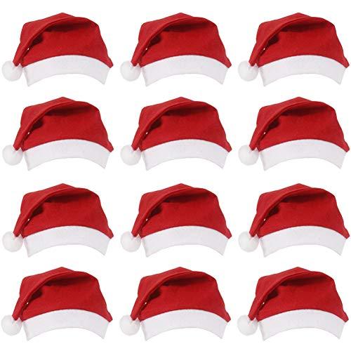 (Yuccer Christmas Hats Santa Hat Weihnachtsmützen Nikolausmützen Mütze Weihnacht Nikolaus Wintermütze Baby Für Kinder & Erwachsene 12 Stück Adult (A))