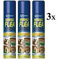 Household - Espray para matar pulgas en el hogar, muebles, alfombras, suave, perros y gatos, 3 unidades, 200 ml