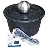 Set: Edelstahl Kugelbrunnen D = 20cm + Becken + Abdeckung D = 66cm + Schlauch + Pumpe 750l/h Brunnen Wasserspiel