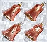 4 TLG. Glas-Glocken Set in Ice Lachs Gold Regen - Christbaumkugeln - Weihnachtsschmuck-Christbaumschmuck