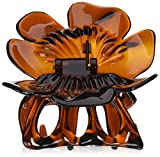 Caravan Rose With Covered Spring And Flat Teeth Tortoise Shell Hair Claw