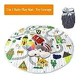Yulie 2 in 1 Baby Spielmatte Spielzeug Speicher Tasche, Krabbeldecke Matt Kinderteppich für Bbay, Kinder, Rund Groß Weich Spielteppich für Mädchen & Junge (Wald)