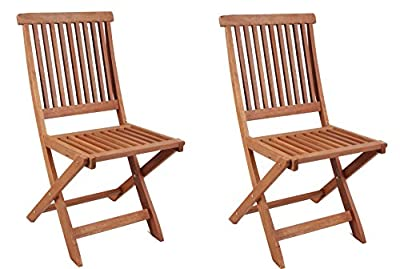 Pair of Compact Ilford Folding Durable Hardwood Garden Outdoor Chairs