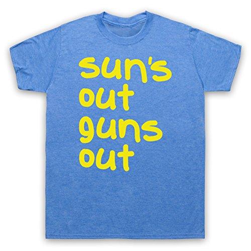 Sun's Out Guns Out Gym Slogan Herren T-Shirt Jahrgang Blau