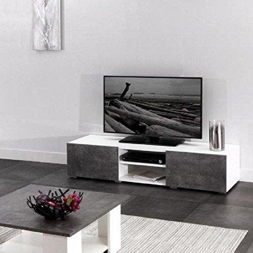 LIME Meuble TV 140 cm - Blanc et décor béton
