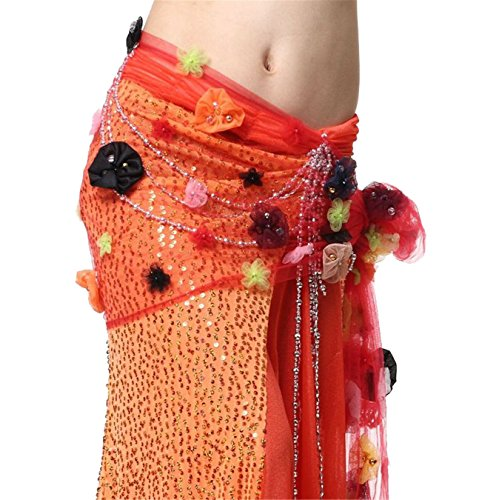Dance Accessories Tribal Danse du ventre costume Hip écharpe With Embroidered Beaded Ceinture red