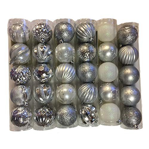 Silver and White Balls Christmas Tree Ornaments 2.4 Inches Pack of 30 New