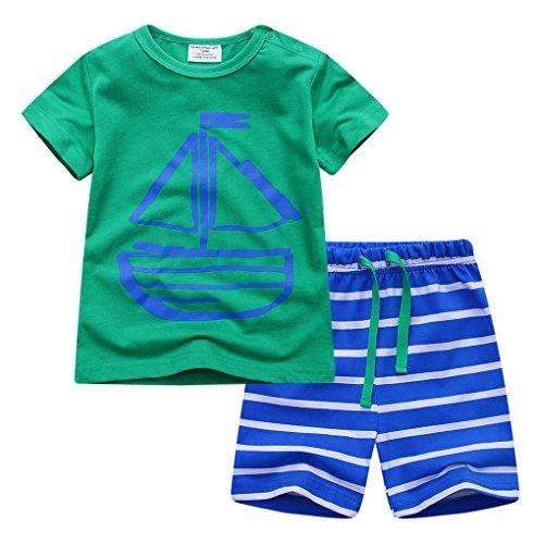 eiliger Kurze Schlafanzug 100% Baumwolle Grün Schiff Größe 18Monate-6Jahre (2 Jahre, Grün) (Jungen Kleinkind Schlafanzug)