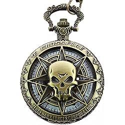 itemstoday Bronze Skull Schutzhülle Antik Mechanische Steampunk Retro Herren Taschenuhr