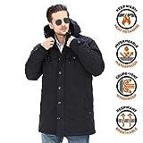 YsCube Parka Negra de Invierno para Hombres Abrigo Resistente al Agua y cálido Chaquetas con Aislamiento Chaquetas Casuales Chaquetas de Rendimiento Chaquetas Softshell Abrigos - XL