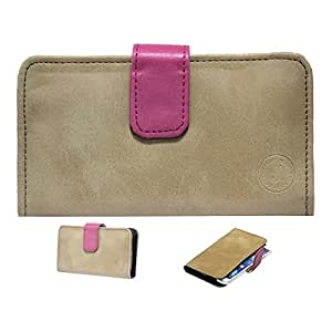 Jo Jo A8 Nillofer Leather Carry Case Cover Pouch Wallet Case For Micromax Canvas Doodle 4 (White) Tan Pink